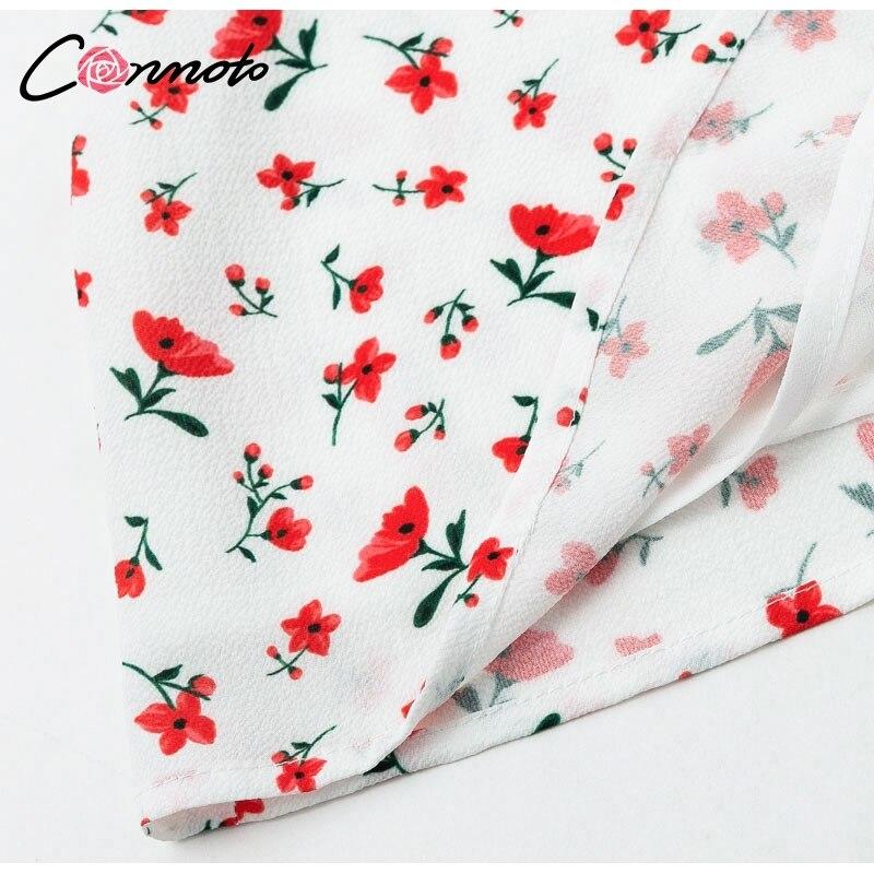Conmoto Casual Floral Print Short Dress Women 19 Summer Holiday Sexy Beach Chiffon Dress Dress Femme Lace Up Dress Vestidos 20