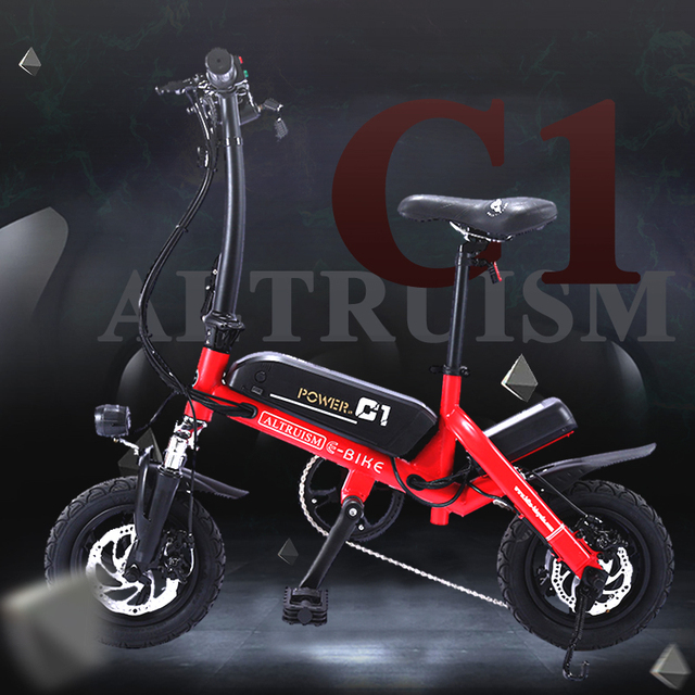 Альтруизм C1 смарт-складной Bike12inch мини-Электрический велосипед Ebike 36 В литиевых Батарея супер мини E велосипед 30 км Максимальная Bat