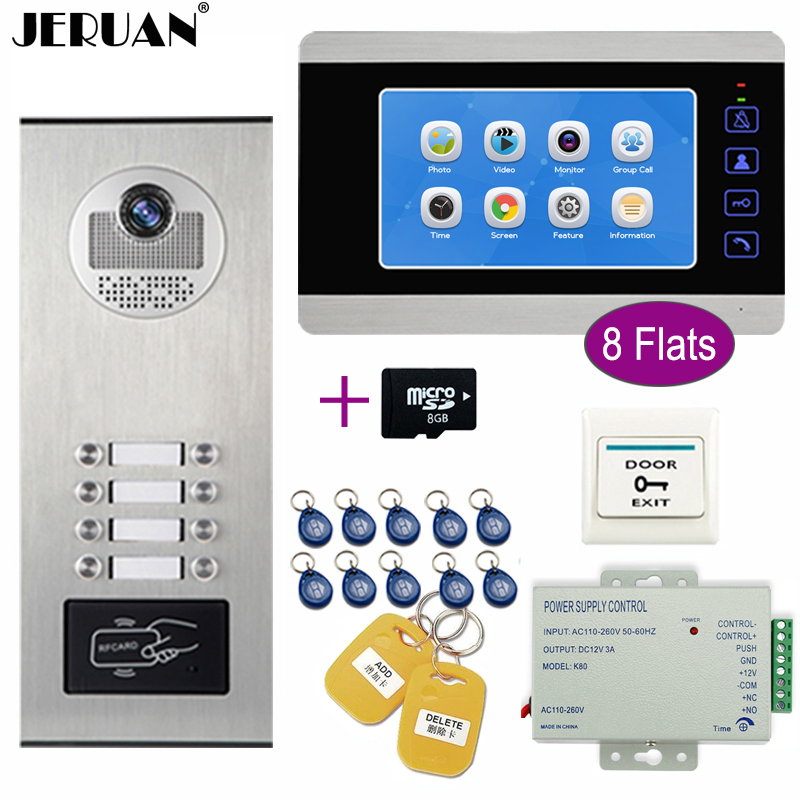 JERUAN Apartment 7`` Video Door Phone Doorbell Video/Voice Record Intercom System Kit HD RFID Access Camera For 8 Households+8G jeruan wired 9 inch video doorbell door phone intercom system kit hd rfid access camera for 6 households apartment in stock