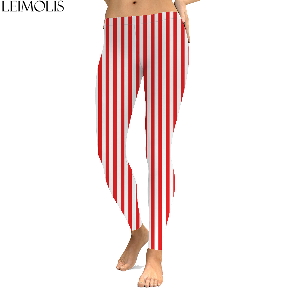 LEIMOLIS 3D printed Striped white red harajuku gothic sexy plus size high waist push up fitness workout   leggings   women pants