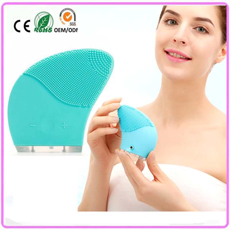 USB Rechargeable Waterproof Electric Sonic Vibration Silicone Face Pores Dirt Oil Cleansing Brush Skin Firming Massager Machine