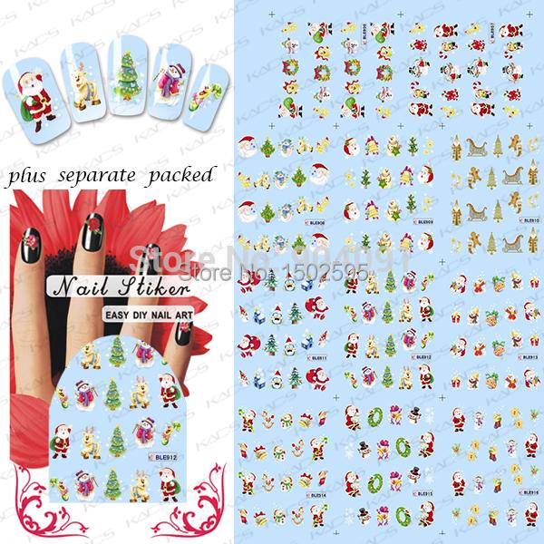 Mayor de 90 Hojas/lot Navidad pegatina Nail Art nail Design accesorios para pegatinas de uñas agua empaquetado individualmente