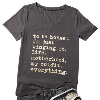 Nieuwe Mode Vrouwen Korte T Shirt Solid V-hals Gewoon Winging Het Leven Motherhood Letters Print T-shirt Tees Casual Vrouwelijke Top