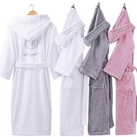 XMS New Bathrobes With Hooded Hat Kimono Lovers Warm Couple Sleepwear Robe Lady 100 Cotton Nightwear