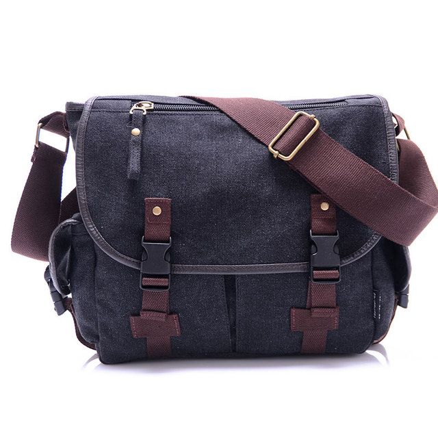 High Quality Canvas Bag Men's solid cover zipper casual shoulder school bags men crossbody bag Men Messenger Bags 1
