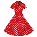 Summer Dress Retro Dresses Audrey Hepburn Style V-Neck Swing Lapel Shirt Rockabilly Pinup Vestido