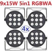 4 xLot Frete Grátis Led Light Par 9X15 W 5in1 RGBWA Cor Cheia plano Par Can Led Stage Lighting Effect DJ Disco Party DMX luzes