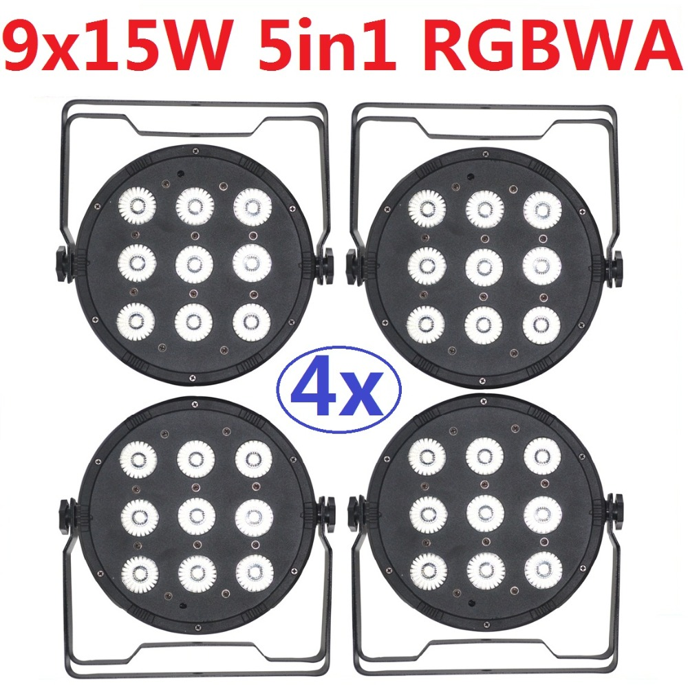 4xLot Free Shipping Led Par Light 9X15W 5in1 RGBWA Full Color Flat Par Can Led Stage Effect Lighting DJ Disco DMX Party Lights free shipping 16 lot dmx 18x10w rgbw led par can light for stage decoration