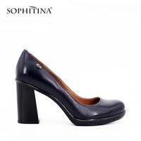 SOPHITINA Yüksek Kare Topuklu Bayanlar Pompalar Siyah Koyu Mavi Yüksek Kaliteli Hakiki Deri Yuvarlak Toe Klasik Elbise Kadın Ayakkabı D11