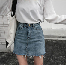 Women Summer Black Blue Solid Casual High Waist Pencil Denim Skirts High Street Pockets Button All-matched Jeans Skirt цена