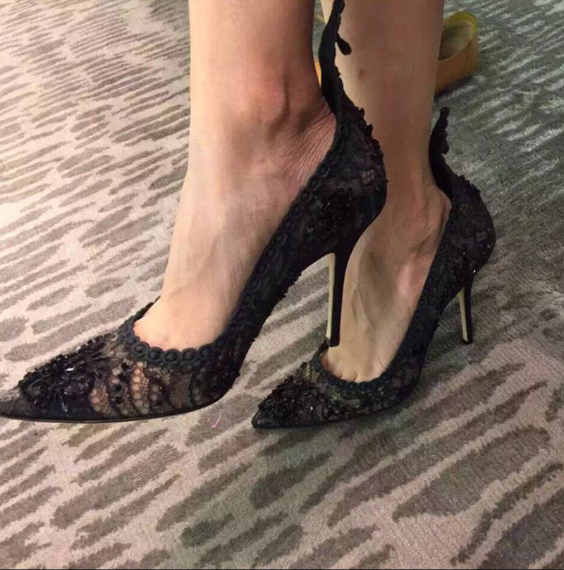 New 2016 spring/autumn lace high quality thin heels pointed toe sexy women high-heeled shoes female elegant ol shoes Real photo new spring autumn women shoes pointed toe high quality brand fashion ol dress womens flats ladies shoes black blue pink gray