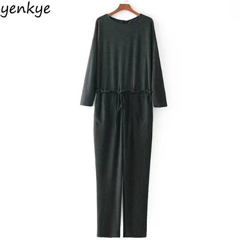 Winter Women Solid Color Cozy Casual Jumpsuit Long Sleeve O Neck Romper Lady Drawstring Waist Overalls Long CCWM8467