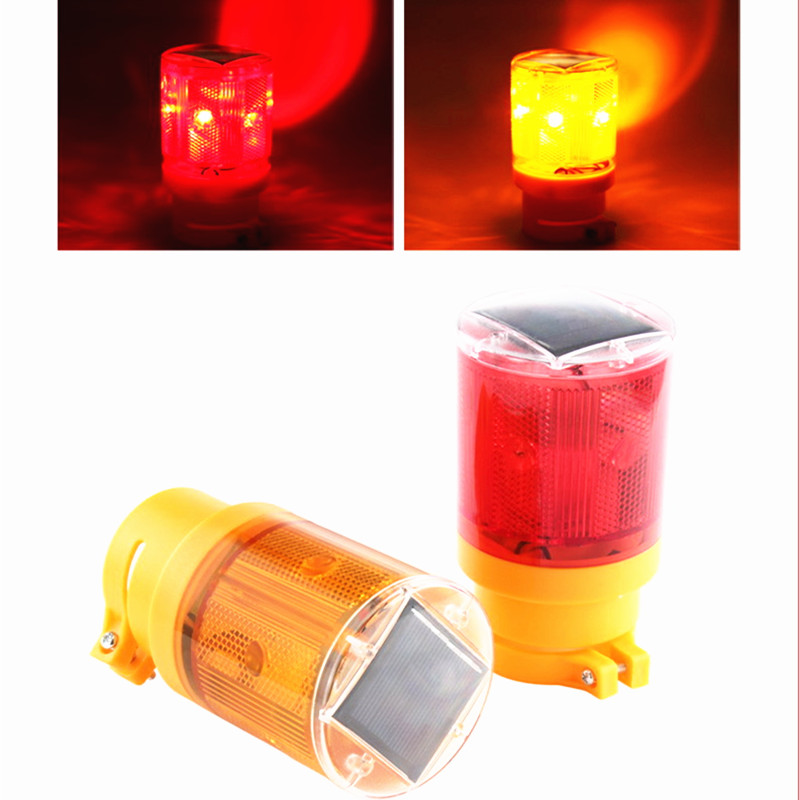 Solar <font><b>Emergency</b></font> <font><b>Light</b></font> 6 LED Bright Flashlight Traffic Warning <font><b>Light</b></font> With Solar Panel Battery Blinker For Tower Outdoor image