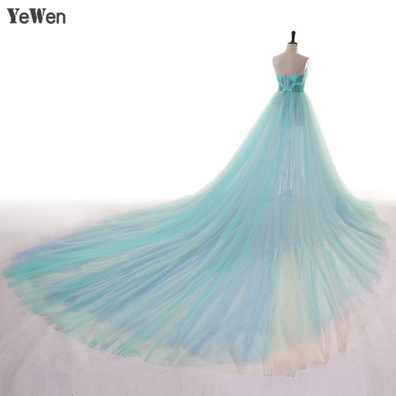 Elegant Evening Dress With Colorful Long Train Formal Gown Tulle Front Slit Maternity Photography Dress 2020 YEWEN Photo Shoot