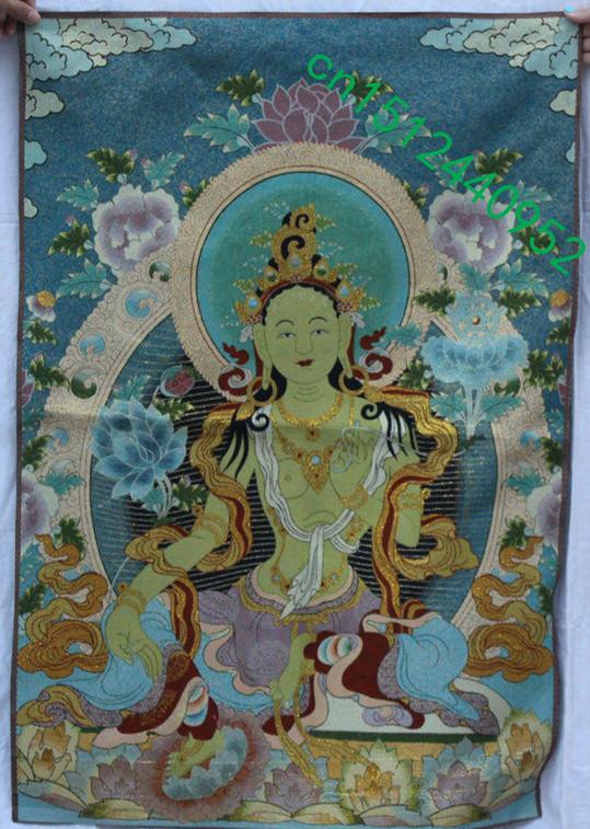"""36/"""" Chinese Silk Satin Immortal Queen Mother West Goddess Thangka Tangka Mural"""