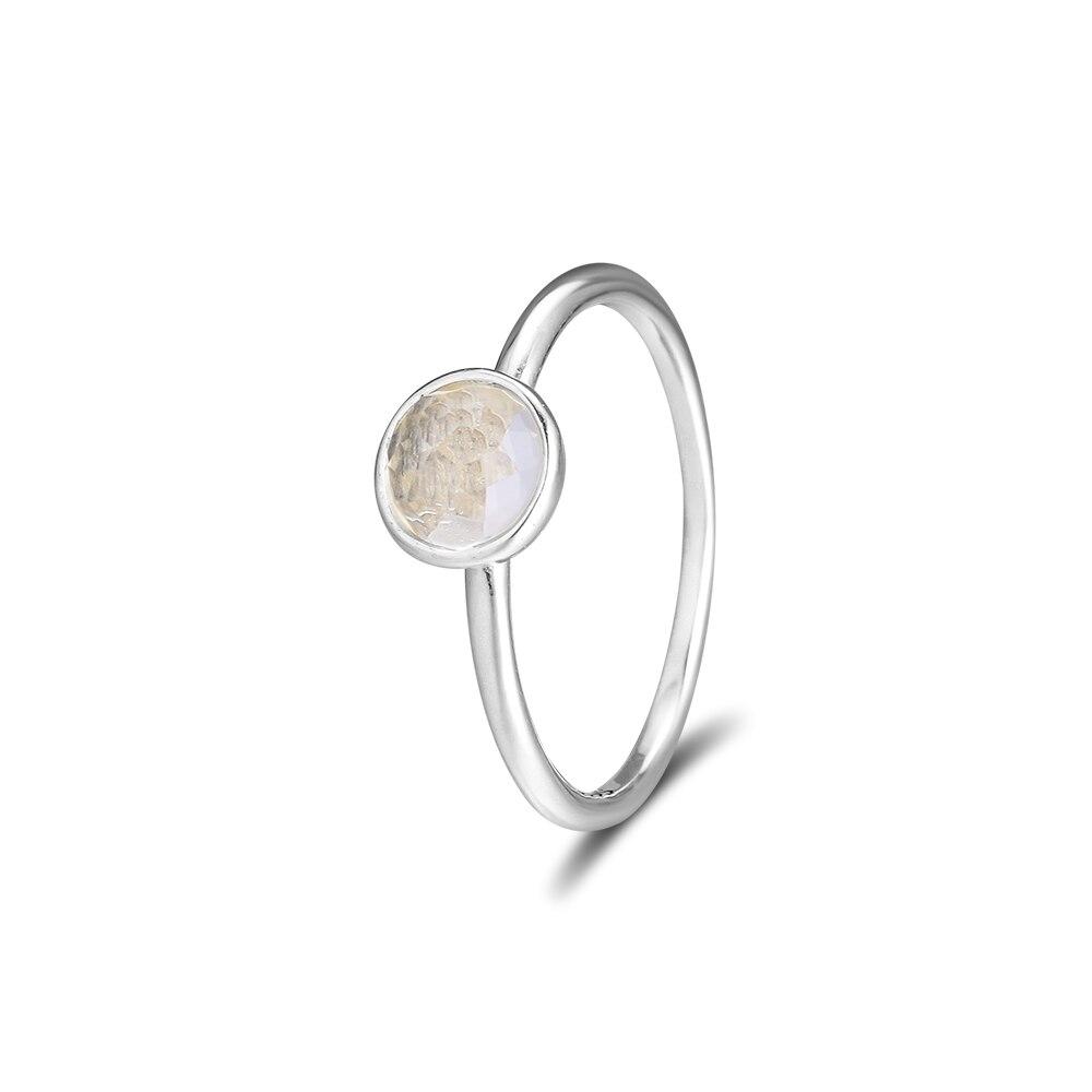 CKK 925 Sterling Silver April Droplet, Rock Crystal Prsteny pro ženy Originální módní evropský styl DIY šperky