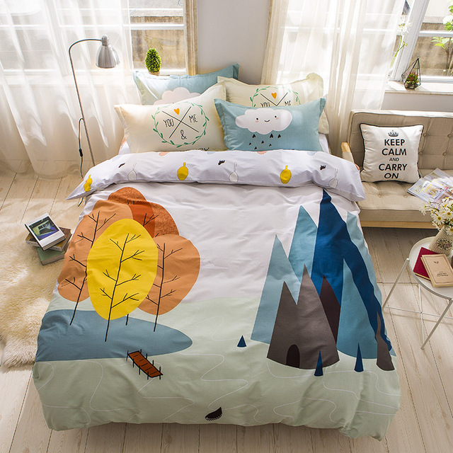 Watercolor Bright Flower Tree And Leaves Cute Bedding Set Queen Size Cotton  Printed Duvet Cover Bedsheets