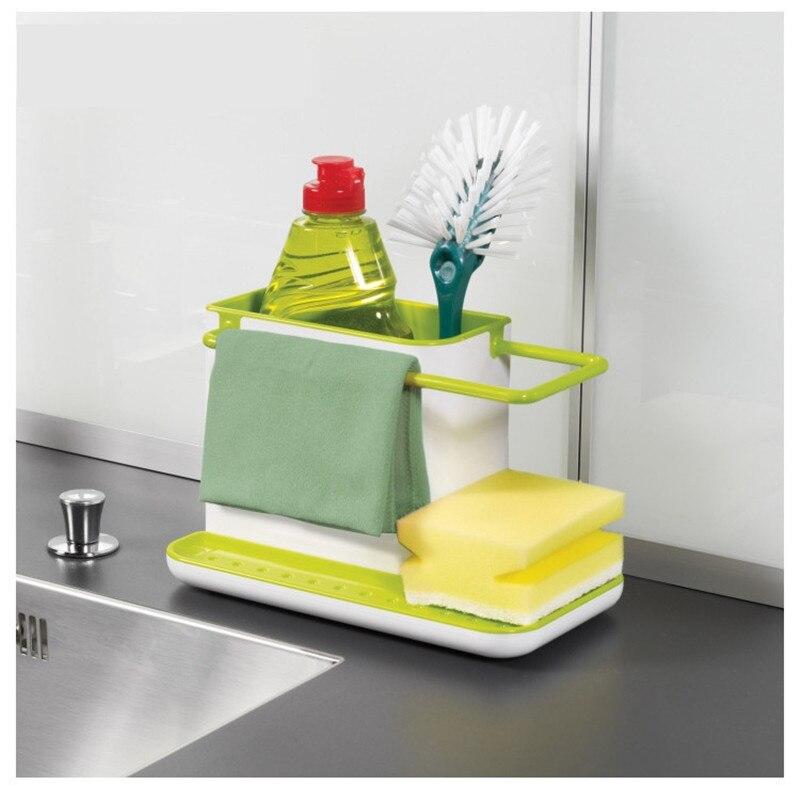 Esponja cocina drenaje estante plato cepillo fregadero de drenaje estante de almacenamiento organizador de cocina Stands utensilios titular de Rack