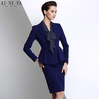 New Women's Skirt Suits Spring 2017 Autumn Fashion Elegant Solid Long sleeve Slim Work Blazer + Skirt Sets Female Office Uniform