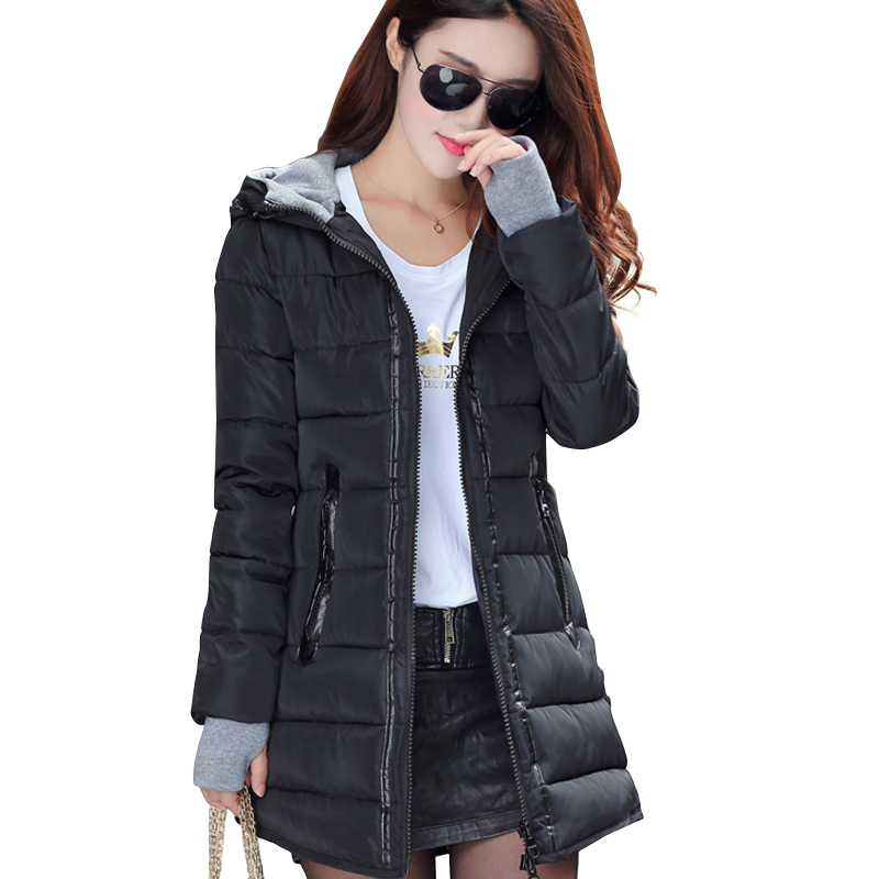 Parkas women winter hooded warm coat slim plus size candy color cotton padded   basic     jacket   female medium-long jaqueta feminina