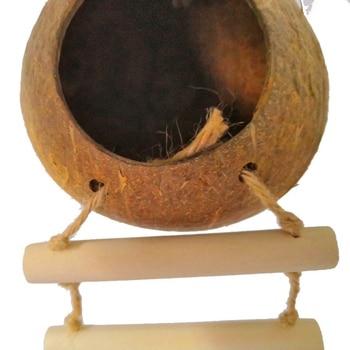 Bird Supplies Parrot Coconut Shell Bird Nest House Hut Cage Feeder Pet Parrot Bird Hamster Squirrel Breeding Nest Ladder Lanyard 5