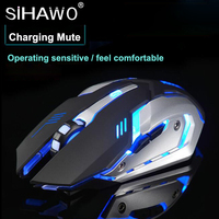 2.4GHz Wireless Mouse Charging Mute Glowing Esport Gaming Mouse Internal Rechargeable Battery 600mAh 1200DPI 150IPS Four Speed