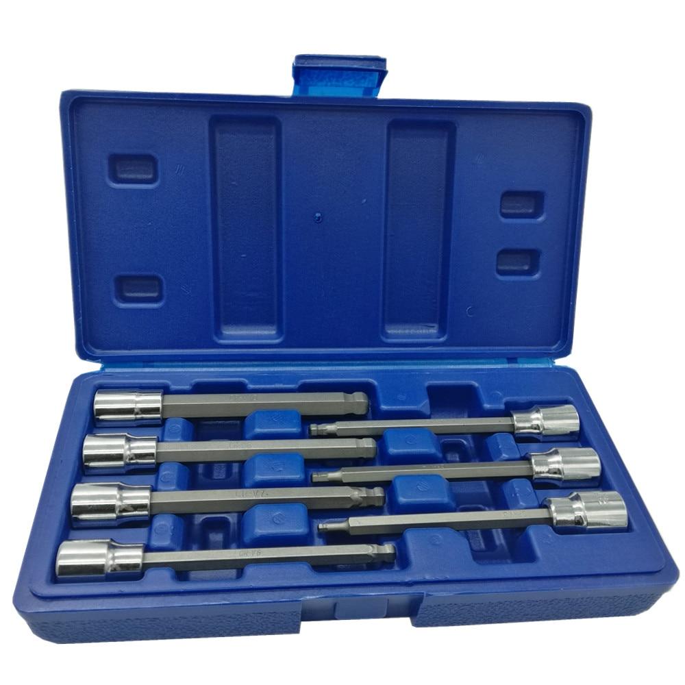 7PC 3/8 Inch Drive Socket Set Ball Style Extra Long Hex Bit Socket Set Tool Set 110mm ,CRV 3mm 4mm 5mm 6mm 7mm 8mm 10mm цена