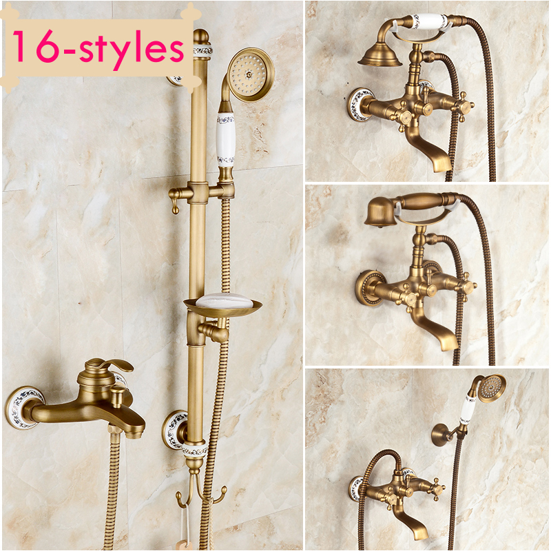 Antique Retro Copper Bath Shower Faucet Rotating Tub Filler Ceramic Style Lift Sliding Bar With Soap Dish shower faucet wall mounted antique brass bath tap swivel tub filler ceramic style lift sliding bar with soap dish mixer hj 67040