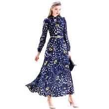 2016 New Pleat Chiffon Print Boho Beach Dress Turn Down Collar Long Sleeve Ladies Maxi Dresses Plus Size Women Clothing