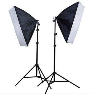 Image 1 - Софтбокс для фотостудии, 2 шт., 50*70 см, E27, держатель для одной лампы, 100 240 В, непрерывный светильник, диффузор, мягкая коробка, 2 м, светильник, подставка, 2 шт.