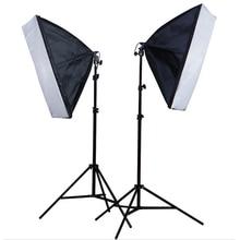 استوديو الصور 2 قطعة 50*70 سنتيمتر Softbox E27 واحد مصباح حامل 100 240 V المستمر الإضاءة الناشر لينة مربع 2 M ضوء حامل 2 قطعة