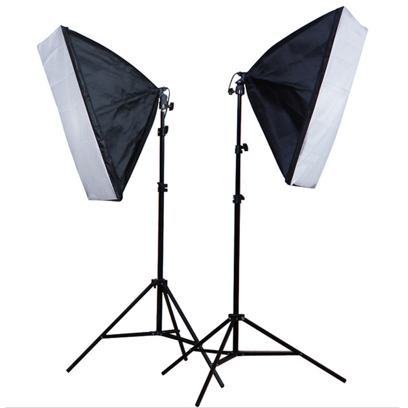 50*70cm Softbox E27 Single Lamp Holder 100-240V Continuous Lighting Diffuser Soft Box 2M Light Stand 2PCS Photography Kit