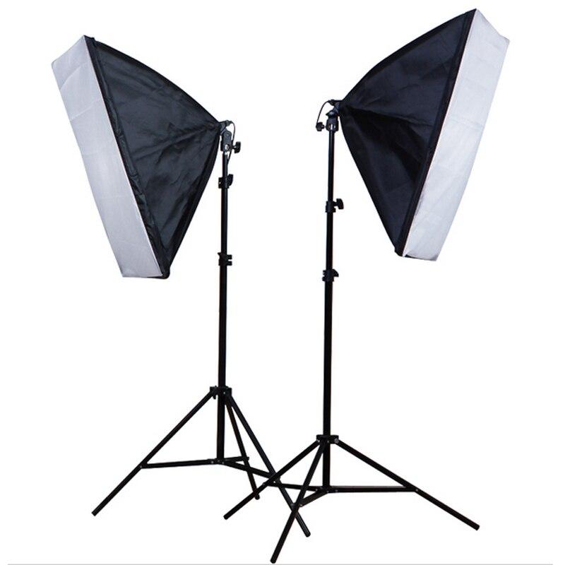 50*70cm Softbox E27 Single Lamp Holder 100 240V Continuous Lighting Diffuser Soft Box 2M Light Stand 2PCS Photography Kit