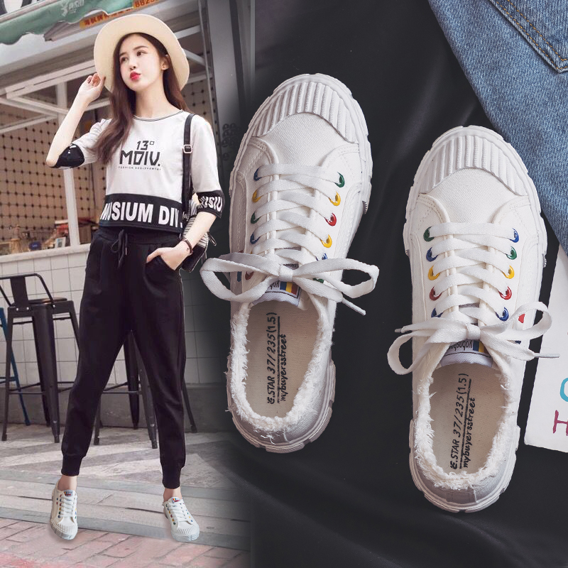 Women White Canvas Shoes Lace Up Solid Colors Zapatillas Deportivas Mujer 2018 New Fashion Sneakers Students Spring Shoes 35-40 стоимость