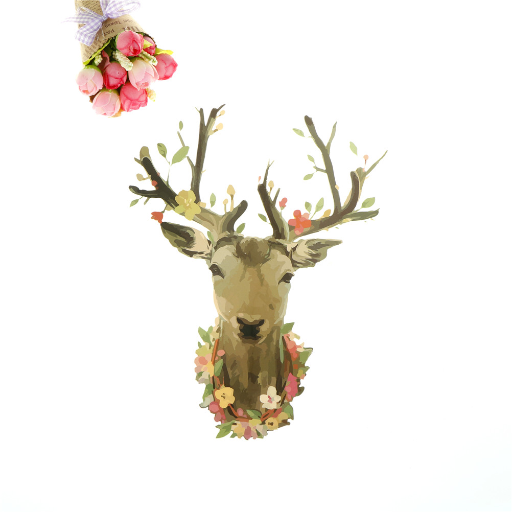 Appliqued Creative Watercolor <font><b>Deer</b></font> <font><b>Patch</b></font> Clothes Household Iron-on Heat Transfers <font><b>Patches</b></font> Stickers For Tops DIY Decoration image