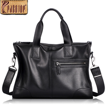Pabojoe Genuine Leather Briefcase Laptop Handbag Messenger Business Men Leather Briefcase New Bag 2017