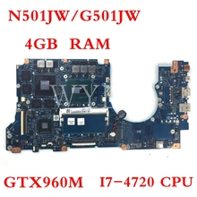 N501JW motherboard I7-4720CPU GTX960M 4GB RAM motherboard For ASUS G501J UX50JW FX60J N501JW UX501J Laptop mainboard i7 7500 8gb gt940m rev 3 1 3 0 ddr4 x556uv x556uqk motherboard for asus x556u x556uj x556uf x556ur laptop motherboard mainboard