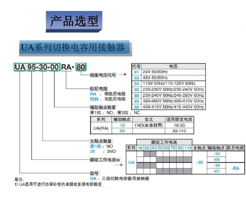 ABB конденсатор с переключателем контактор UA50-30-00RA UA63-30-00RA UA75-30-00RA AC110V AC220V AC380V