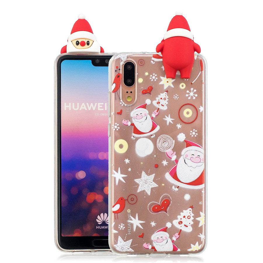 3D Christmas Tree Transparent Phone Case For Huawei P20 Santa Claus Snowman Xmas Cases For Huawei P20 Pro TPU Silicone Cover