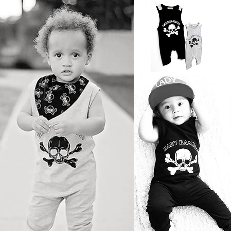 2016 New Skull Baby Boy Girl Summer Rompers Clothes Costume Casual Cotton Sleeveless Romper Black Gray Outfits Cute kid newborn summer clothes toddler baby boy girl sleeveless floral cotton romper outfits sunsuit