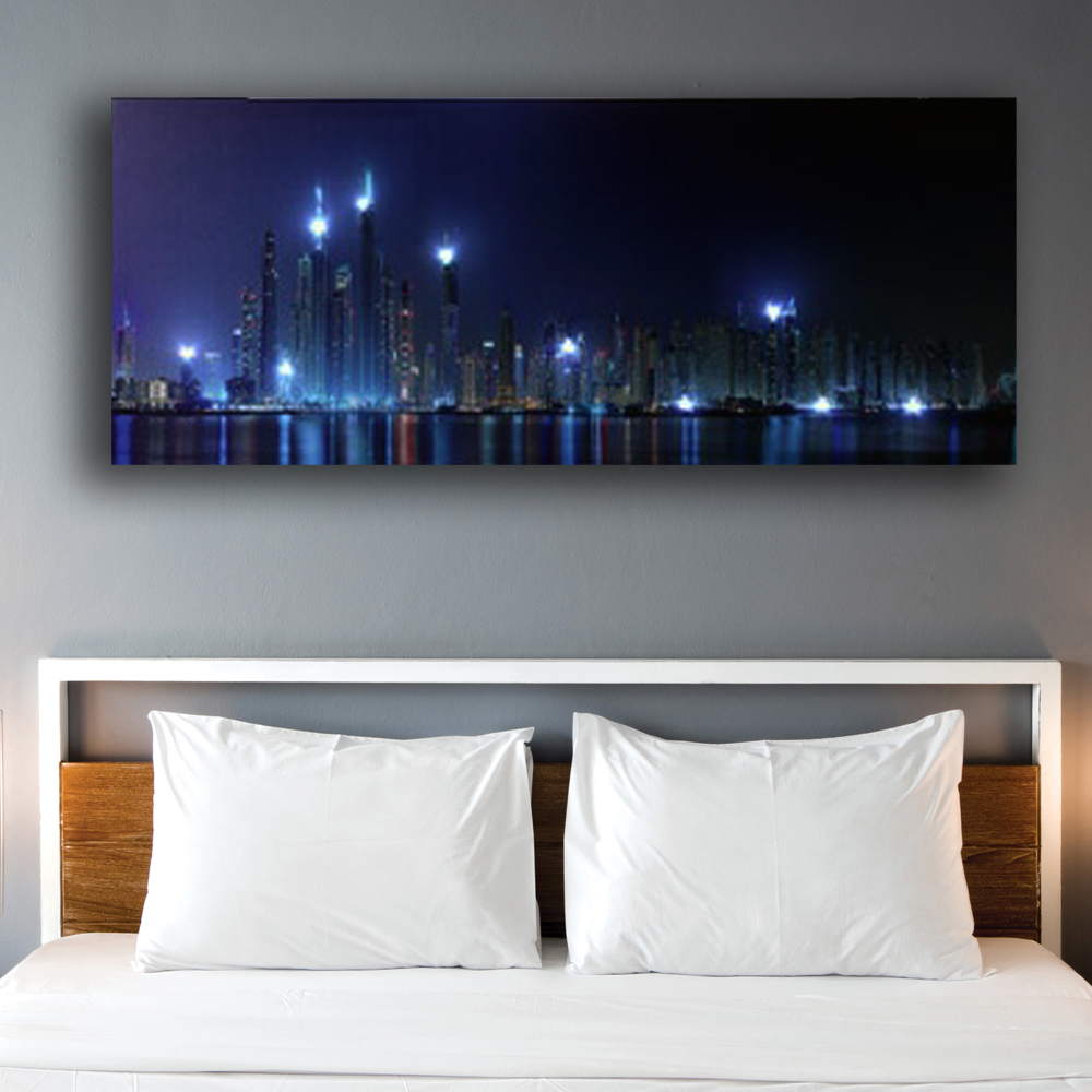 Us 46 19 23 Off Led Wall Picture Hongkong City Building Night Skyline Canvas Art Light Up Decor Hd Painting Artwork Printed Framed Battery Open In
