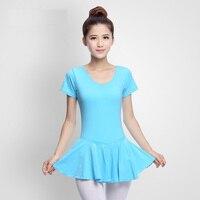 Comfort Ballet Dance Dresses For Lady Blue Purple Short Sleeve Dress Women Competitive Adult Fantasia Examine Costume N9019