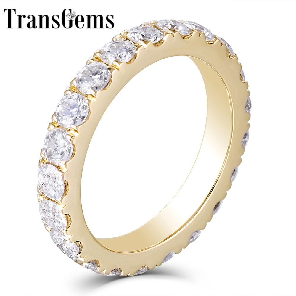 Transgems 14K 585 Yellow Gold 2 8mm F Color Moissanite Full Eternity Wedding Band for Women