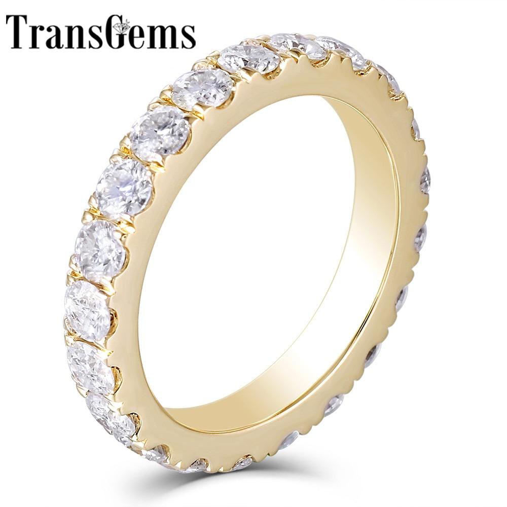 Transgems 14K 585 Yellow Gold 2.8mm F Color Moissanite Full Eternity Wedding Band for Women Wedding Gifts Fine Jewellery