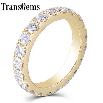Transgems 14K 585 Yellow Gold 2.8mm F Color Moissanite Full Eternity Wedding Band for Women Wedding Gifts Fine Jewellery - DISCOUNT ITEM  5% OFF All Category