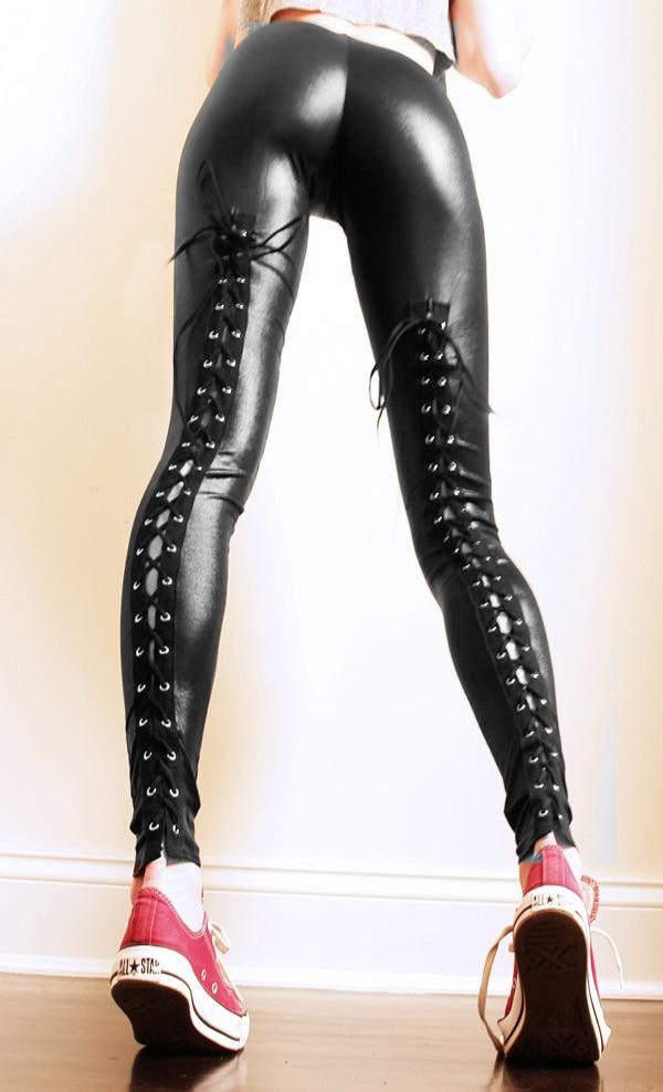 New Arrival Punk Leggings Fashion Women Sexy Black Faux Leather Legging Latex Legging -6367