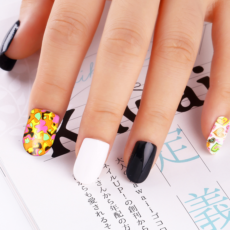 24pcslot Nail Stickers 3d Beauty Sticker For Nails Colorful Leaf