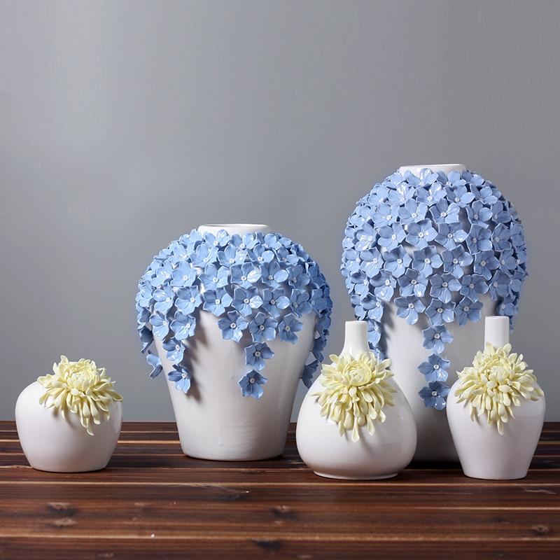 ceramic Yellow daisy flowers vase home decor large floor ...