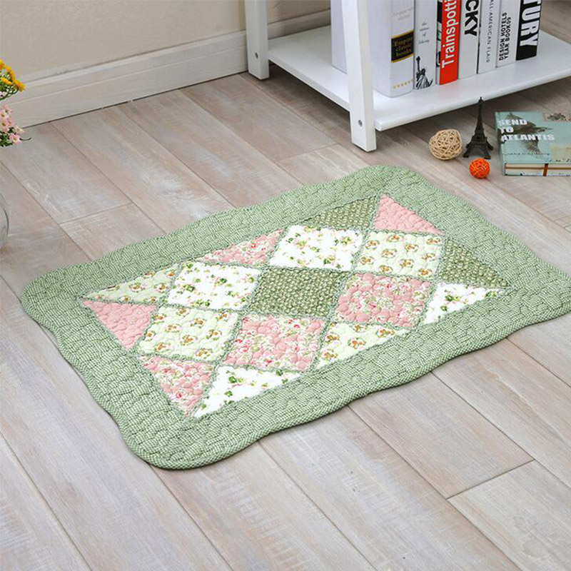 New Cotton Quilting Mat Rectangle Hand-stitched Patchwork Carpet Scenic Printed Non-slip Living Room Hallway Floor Door Clothes