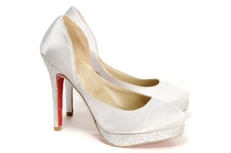 Rhinestone beaded high heel, gorgeous white, women's evening shoes ...